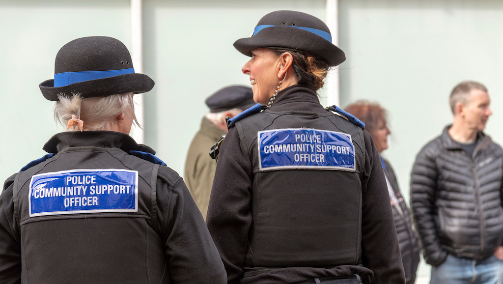 Salisbury, Wiltshire, UK, March 2019. Police community support officers on duty in the city centre